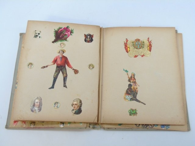 Antique 19th C Victorian Cigar Theme Scrap Book - 2