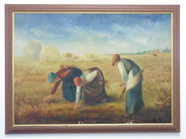 Antique Oil Painting - The Gleaners After Millet
