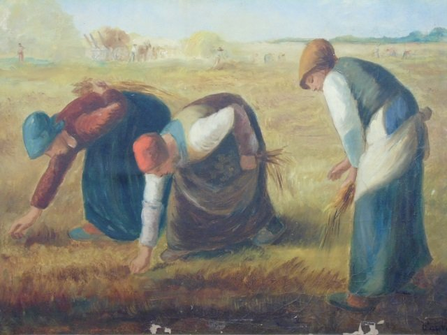 Antique Oil Painting - The Gleaners After Millet - 3