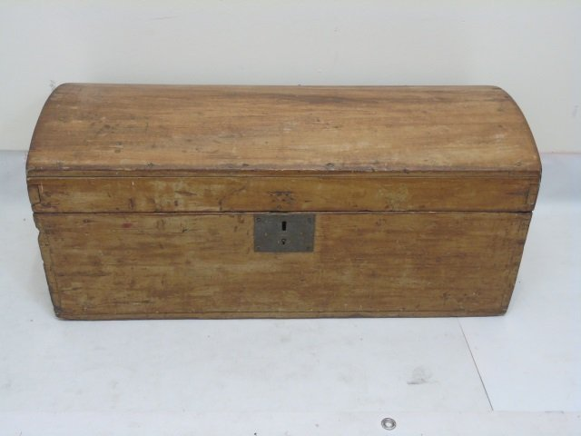 Small Antique 19th Domed Top Pine Trunk