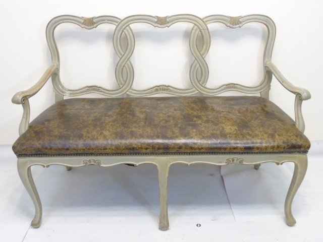 Antique Italian Style Carved Frame Bench / Settee