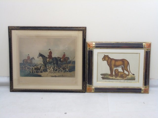 Two Well Framed Prints Antique Fox Hunt & Lioness
