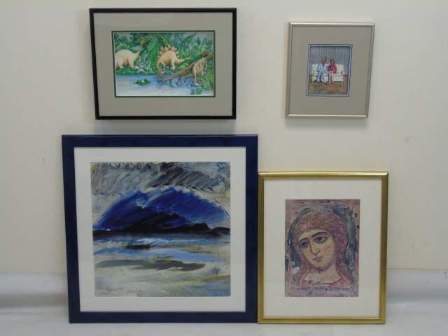 Group of Whimsical Works on Paper & Met Poster