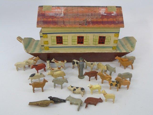 Antique German Putz Toy Noah's Ark w Animals