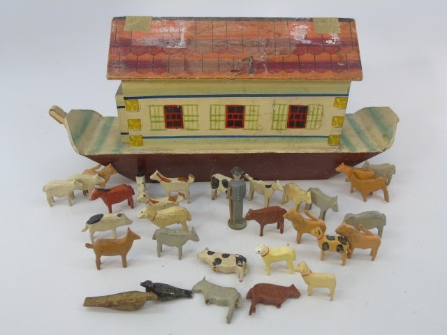 Antique German Putz Toy Noah's Ark w Animals