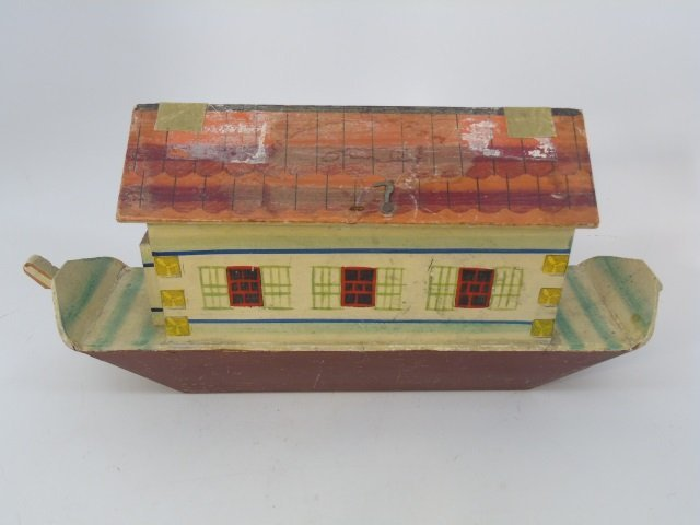 Antique German Putz Toy Noah's Ark w Animals - 2