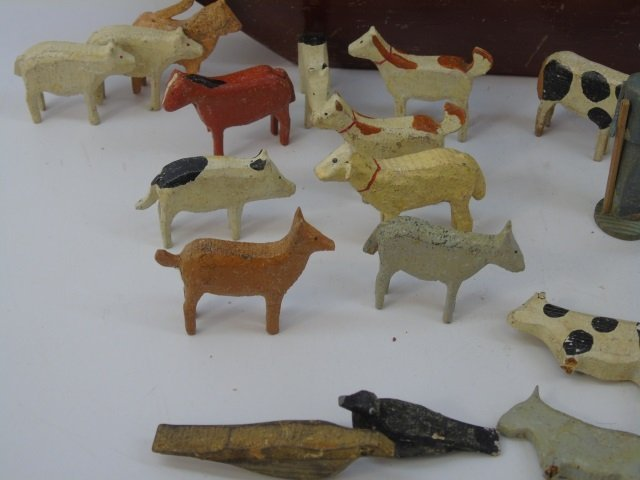 Antique German Putz Toy Noah's Ark w Animals - 3