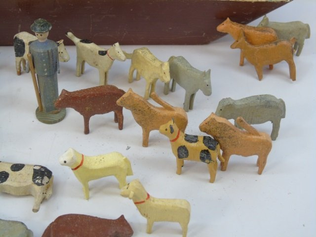 Antique German Putz Toy Noah's Ark w Animals - 4
