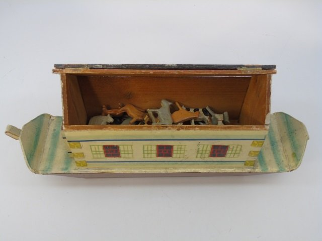 Antique German Putz Toy Noah's Ark w Animals - 5