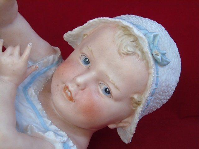 Antique Heubach Bisque Doll Piano Baby Statue - 3