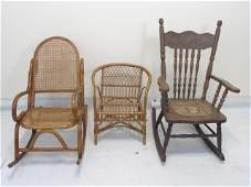 Three Antique Victorian Era Child Doll Size Chairs