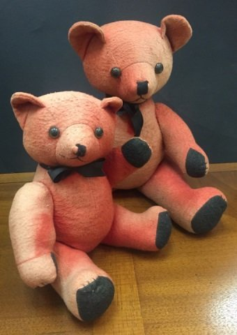 Two Vintage Colorful Red Felt Teddy Bears