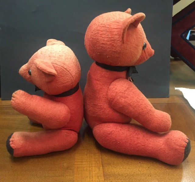 Two Vintage Colorful Red Felt Teddy Bears - 2