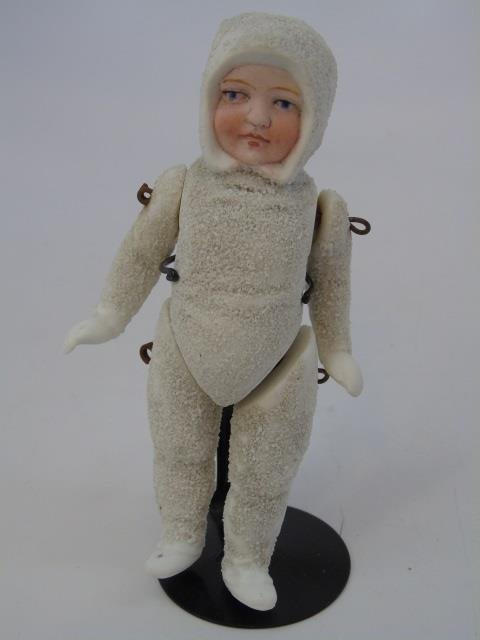 Antique German All Bisque Doll Snow Baby
