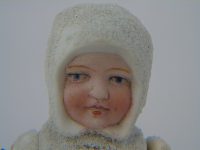 Antique German All Bisque Doll Snow Baby - 3