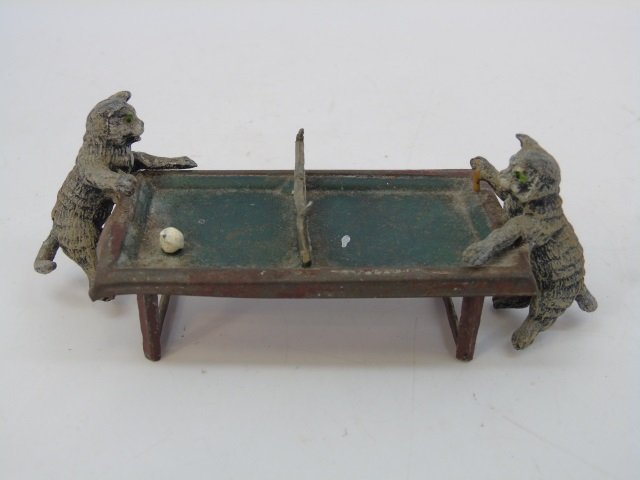 Antique German Statue of Cats Playing Table Tennis