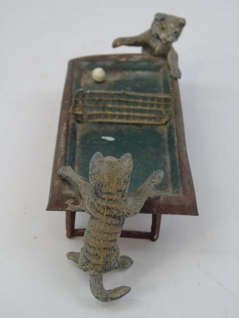 Antique German Statue of Cats Playing Table Tennis - 2