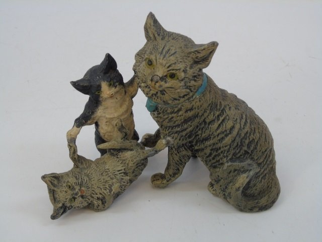 Antique German Statue of Three Cats Playing