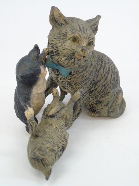 Antique German Statue of Three Cats Playing - 3