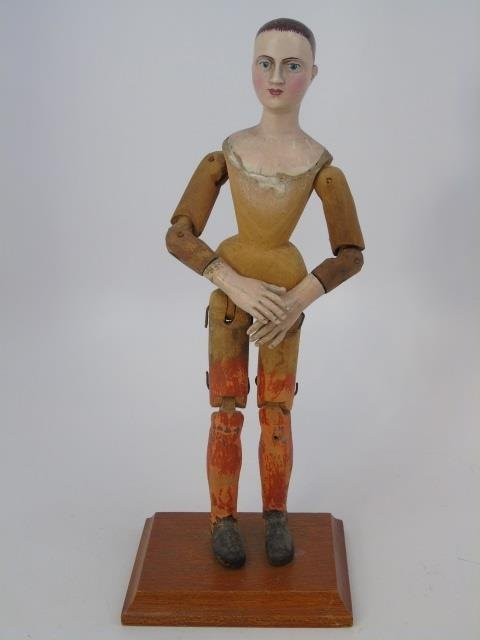 Antique Hand Carved Jointed Wood Santos Figure