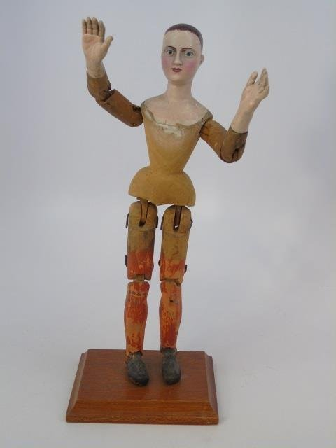 Antique Hand Carved Jointed Wood Santos Figure - 2