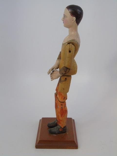 Antique Hand Carved Jointed Wood Santos Figure - 3