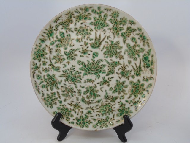 Pair Antique 19th C Chinese Green & Gold Plates - 2