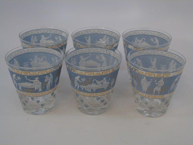 Set of Six Mid Century Modern Bar Glass Tumblers