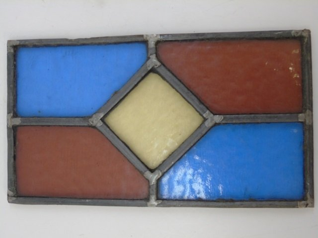 Pair Antique Tudor Style Stained Glass Windows - 3