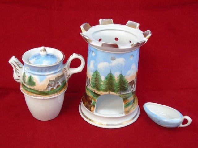 Antique Old Paris Porcelain Teapot on Heated Stand