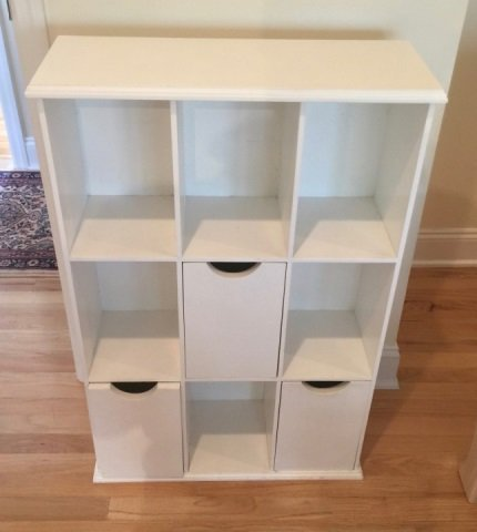 Contemporary White Wall Shelf & Cubby Bookcase