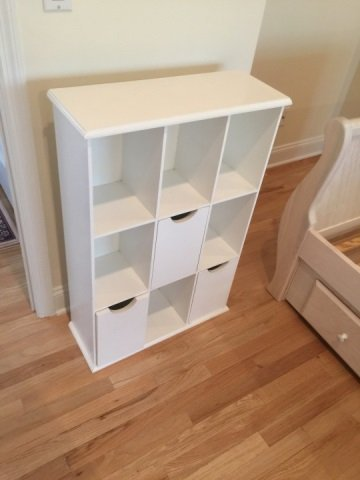 Contemporary White Wall Shelf & Cubby Bookcase - 2