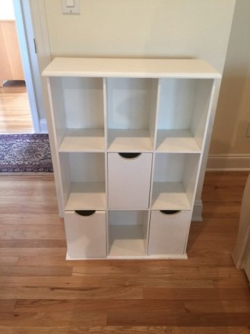 Contemporary White Wall Shelf & Cubby Bookcase - 3