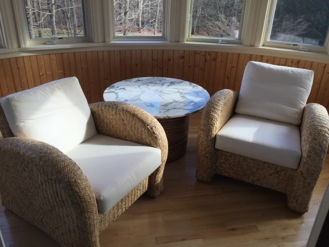 Pair Contemporary Modern Woven Armchairs