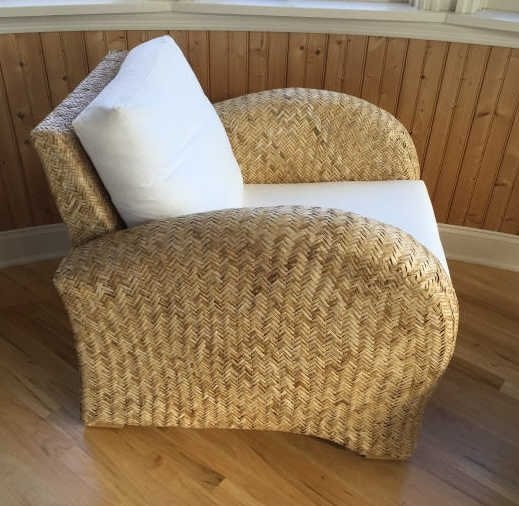 Pair Contemporary Modern Woven Armchairs - 2