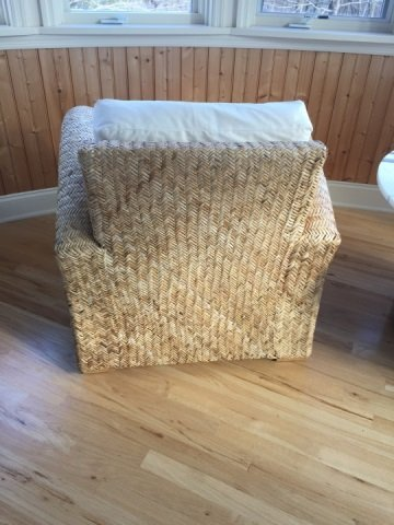 Pair Contemporary Modern Woven Armchairs - 3