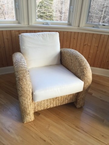 Pair Contemporary Modern Woven Armchairs - 4