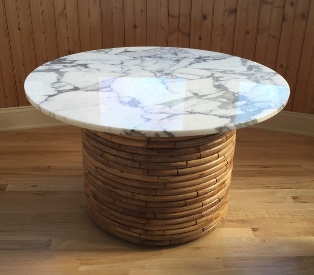 Contemporary Round Marble Top Bamboo Base Table