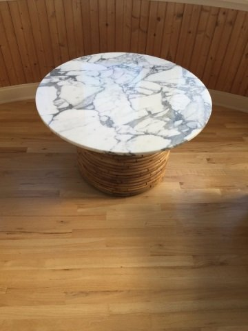 Contemporary Round Marble Top Bamboo Base Table - 3