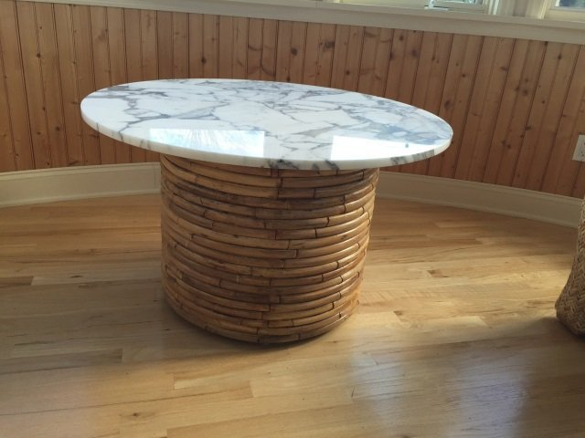 Contemporary Round Marble Top Bamboo Base Table - 4