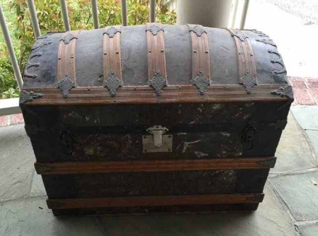 Antique 19th C Victorian Steamer Trunk Dome Top