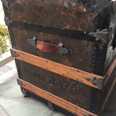Antique 19th C Victorian Steamer Trunk Dome Top - 2