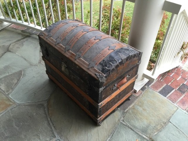Antique 19th C Victorian Steamer Trunk Dome Top - 3
