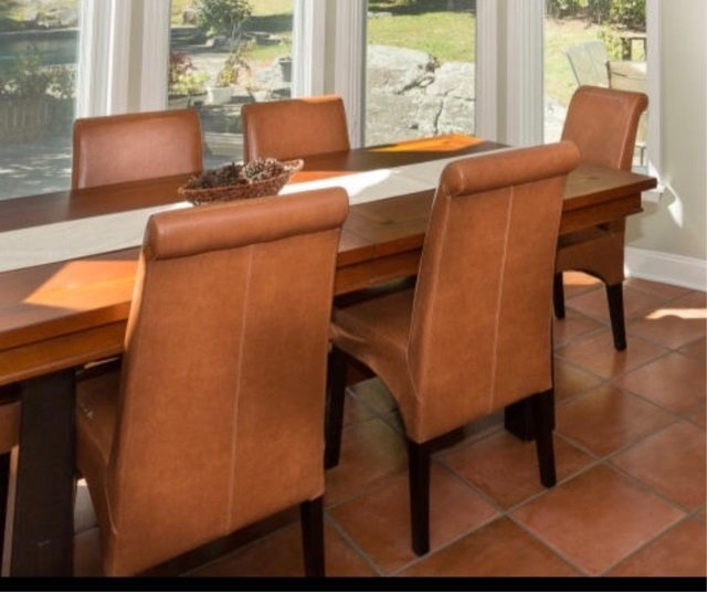 Six Contemporary Leatherette Dining Room Chairs