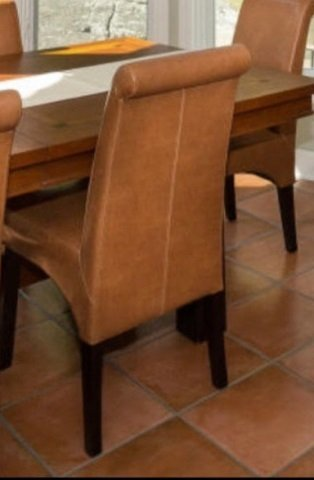 Six Contemporary Leatherette Dining Room Chairs - 2