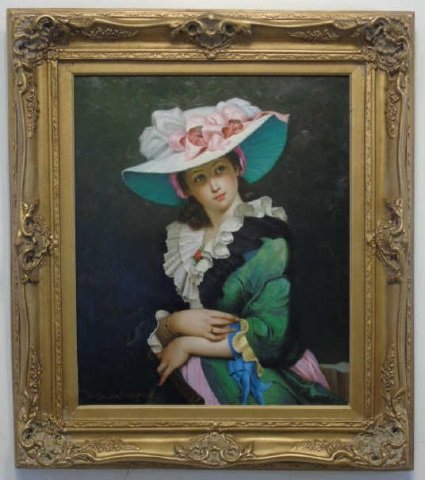 Joseph Sharn Oil Portrait of Woman in Pink Hat