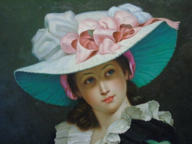 Joseph Sharn Oil Portrait of Woman in Pink Hat - 2