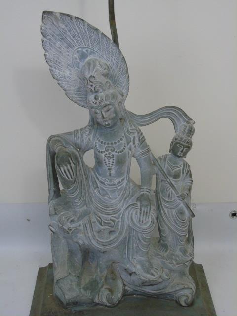 Large Carved Stone Asian Female Buddha Mount Lamp