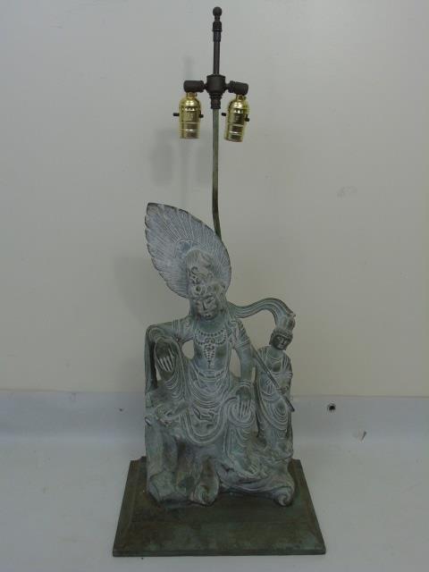 Large Carved Stone Asian Female Buddha Mount Lamp - 3