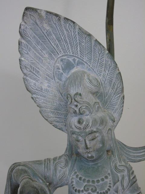 Large Carved Stone Asian Female Buddha Mount Lamp - 4